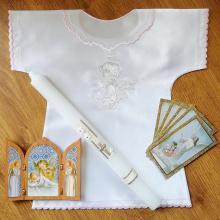 Balíček na krst - ružová výšivka
