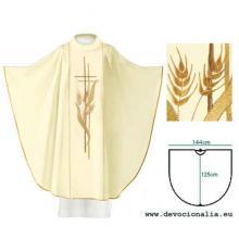 Biely ornát - Výšivka kríž + klasy pšenice