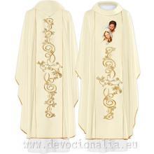 Biely vyšívaný ornát - Svätá rodina