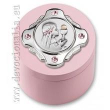 Darčeková krabica na ruženec so Swarovski kamienkami - ružová