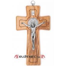 Drevený kríž 16cm - olivové drevo - Sv. Benedikt