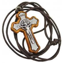 Drevený krížik na šnúrke - sv. Benedikt - 4cm