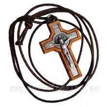 Drevený krížik na šnúrke - sv. Benedikt - 4cm - b