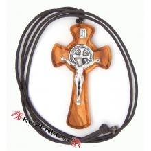 Drevený krížik na šnúrke - sv. Benedikt - 5cm