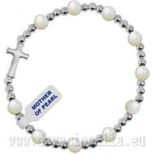 Elastický ruženec na ruku - biela perleť