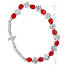 Elastický ruženec na ruku - červený + krížiky