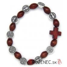 Elastický ruženec na ruku drevený hnedý - sv. Benedikt