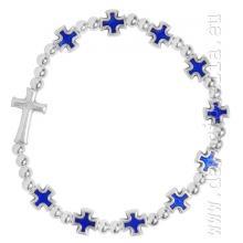 Elastický ruženec na ruku - modré krížiky