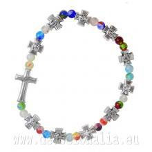 Elastický ruženec na ruku - pestrofarebný + krížiky