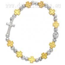 Elastický ruženec na ruku - zlaté kovové krížiky