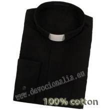 Kňazská košeľa - 100% bavlna - čierna