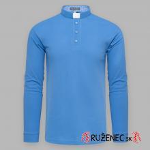 Kňazská polo košeľa - dlhý rukáv - modrá