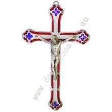 Kovový emailový kríž 17,5cm - červený