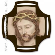 Kristova hlava  -  reliéfny živicový obraz - 28x29cm