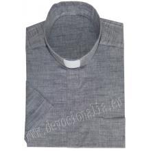 Letná kňazská košeľa ľan+bavlna - Krátky rukáv