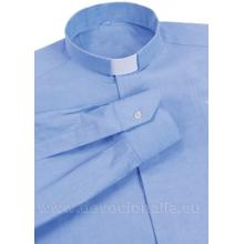Modrá kňazská košeľa - dlhý rukáv