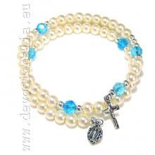 Náramkový ruženec na ruku - biely perleťový na pamäťovom drôte