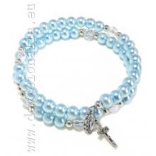 Náramkový ruženec na ruku - modrý perleťový na pamäťovom drôte