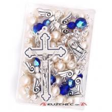 Ruženec - 7mm biele perlové guličky + anjeli M