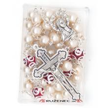 Ruženec - 7mm biele perlové guličky + C