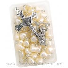 Ruženec - biele perleťové srdiečka