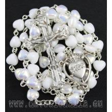 Ruženec - biele porcelánové srdiečka