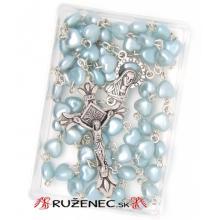 Ruženec - modré perleťové srdiečka