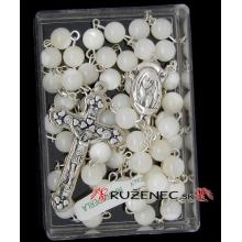 Ruženec - Perleť - 6mm guličky - biely