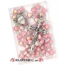 Ruženec - ružové srdiečka - 6mm