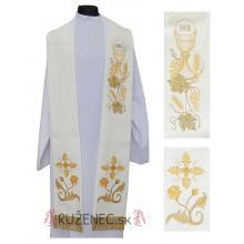 Štóla biela s výšivkou - Eucharistia + kríž