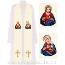 Štóla biela s výšivkou - Ježiš + Mária
