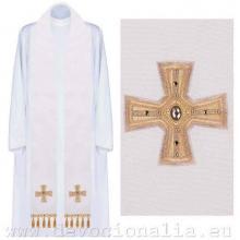 Štóla biela s výšivkou - kríž extra