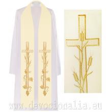 Štóla biela s výšivkou - kríž + klasy 2