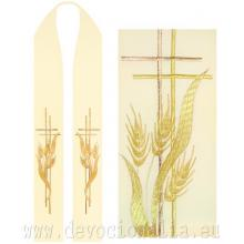 Štóla biela s výšivkou - kríž + klasy pšenice