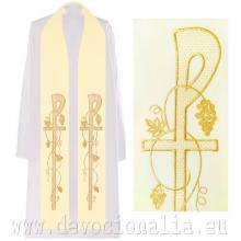 Štóla biela s výšivkou - kríž + vinič