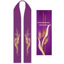 Štóla fialová s výšivkou - kríž + klasy pšenice