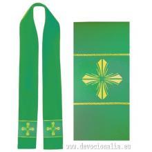 Štóla zelená s výšivkou - kríž